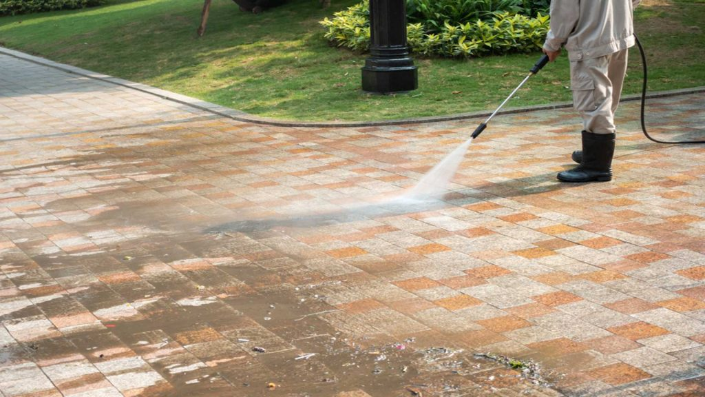 Pressure Washing Brick Walkway - Commercial Pressure Washing