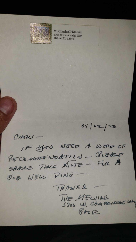 Letter Recommending Chris - Pressure Washing
